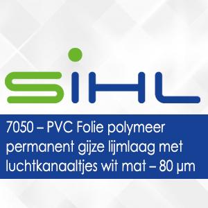 7050 - Sihl PVC Folie polymeer permanent grijze lijmlaag met luchtkanaaltjes wit mat - 80 micron
